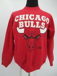 L6487 VTG Chicago Bulls Big Logo Basketball-NBA Spell-Out Sweatshirt Size L