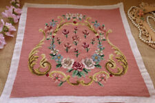 "17"" Amazing Victorian Golden Swirls Flowers Pink Completed Needlepoint Canvas"