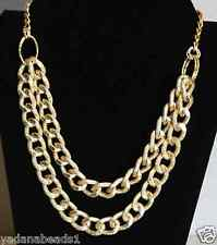 Women Fashion Necklace Yellow Gold Double Layer Bold Chunky Chain links Necklace
