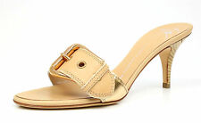 GIUSEPPE ZANOTTI 1040 Tan Gold Metallic Buckle Heel Slide Sandals Size 40.5