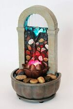 "Lotus Rock Wall Color Changing LED 11"" H Fountain & Adapter Tranquil Relax Sooth"