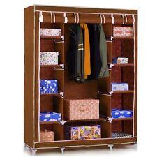 Brown Triple Large Wardrobe Clothes Rail Storage Cupboard Shelves Organiser Shoe