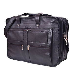 Vintage Volos Genuine black eco-friendly laptop real cow leather bags briefcase