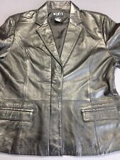 MIXIT Black Leather Blazer Size 14 Women's Jacket Long Sleeve Coat