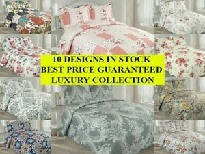 3pc Quilted Bedspread Patchwork Bedding Comforter Bed Throw With x2 P-Shams