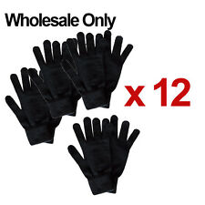 WHOLESALE LOT OF 12 MEN WOVEN MAGIC WINTER BLACK WARM KNITTED GLOVES