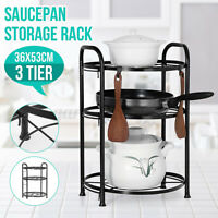 3 Tiers Pot & Pan Rack Vertical Holder Storage Metal Kitchen Cookware Accessory