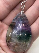 """Geode Agate Druzy Crystal Teardrop(FreeTibetan Silver 18"""" Necklace D-1331)"""