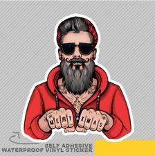 Hipster Santa Tattoo Red Hoodie Vinyl Sticker Decal Window Car Van Bike 2891