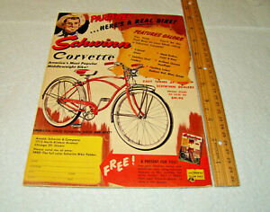 "VINTAGE 1957 SCHWINN 3-SPEED CORVETTE BICYCLE ""PAGE PICTURE ADD"""