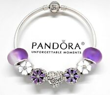 Authentic Pandora Silver Charm Bracelet With Purple Love Heart European Charms