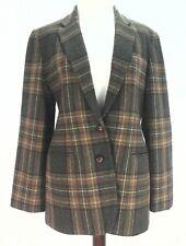 RALPH LAUREN Blazer Jacket LRL Equestrian Elbow Patches Wool Brown Plaid 8 $290