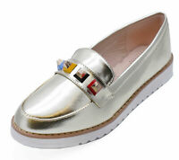 LADIES GOLD FLAT SLIP-ON LOAFERS SMART CASUAL WORK COMFY SHOES PUMPS SIZES 2-8