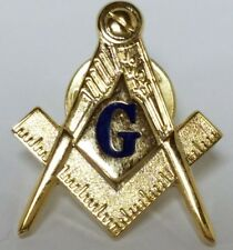 "Blue G Mason Square & Compasses Masonic Freemason Lapel Pin 1"""