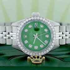 Rolex Datejust Ladies 26mm Steel Jubilee Watch w/Olive Green Diamond Dial,Bezel