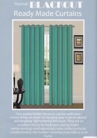 Thermal Ring Top Eyelet Blackout Pair Curtains Ready Made Free Tiebacks Teal