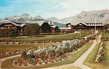 East Glacier Montana~Paths Around Long Flower Beds~National Park Motel~1950s