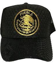 PUEBLA MEXICO LOGO FEDERAL HAT GORRA DE PALMA VISERA DE PIEL BLACK MESH TRUCKER