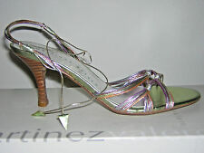 NEW! MARTINEZ VALERO STRAPPY HIGH HEEL SANDALS GREEN METALLIC LEATHER 6 $183 BOX