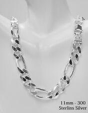 Sterling Silver Thick Solid Men's Figaro Chain Necklace or Bracelet,925 Italy