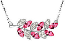 Fashion Womens Leaves Pink Crystal Rhinestone Silver Chain Pendant Necklace