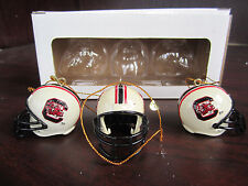 U Of SOUTH CAROLINA Gamecocks USC Helmet Ornaments- 3 Pack NEW in Box CHRISTMAS
