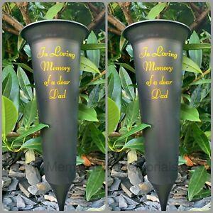 2 X Dad Memorial Plastic Black Flower Vase Grave Crem Spike Vase Pot Remembrance