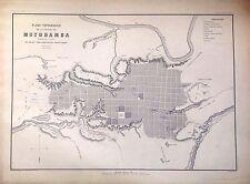 PERÚ,plano de la ciudad de Moyobamba.Paz Soldán.Geografía del Perú 1865.