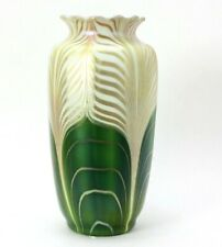 "Steuben Art Glass Vase Green Aurene Iridescent Glass Pulled Feather 9"""
