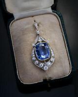 12.47 Ct Blue Sapphire & Round Diamond Vintage Art Deco Pendant