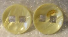 "2 VINTAGE MARBLE LUCITE CREAM ROUND SHAPED LARGE 1.5"" COAT BUTTON SQUARE HOLES"
