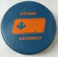 OTTAWA NATIONALS REFLECTIONS BLUE OFFICIAL PUCK world hockey association OGP