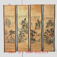 A Set Of 4 Pieces ,Old Scroll Chinese Ink And Wash Painting & Calligraphy Zh001