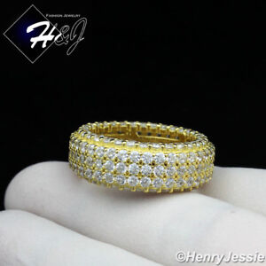 MEN 925 STERLING SILVER FULL ICY DIAMOND 9MM GOLD WEDDING BAND RING*GR93