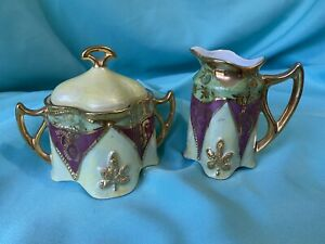 Ornate Cream and Sugar - Green, Purple and Gold - Made in Germany - No Chips