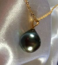 """9.2 Ct, Natural, Tahitian Pearl Pendant, 14K Y Gold Overlay Sterling Silver, 18"""""""