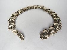 """HEART FAS 925 STERLING SILVER HEARTS LINK 7.5"""" Bracelet  VINTAGE"""