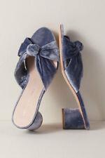 New Loeffler Randall Celeste Heels Crushed Blue Velvet Mules Size Size 7