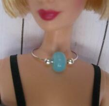 Model Muse BARBIE DOLL Jewelry EASY-ON AQUA BLUE / Silver Fashion Necklace OOAK