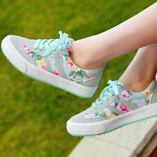 Womens Fashion Casual Floral Canvas Shoes Flat Athletic Sport Lace Up Sneakers