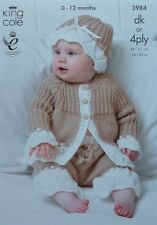 KNITTING PATTERN Baby Lace Flounce Jacket Hat & Short Trousers DK or 4ply 3984