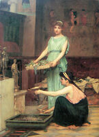 Oil painting Waterhouse - Portraits Young girls the household gods canvas 36""