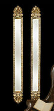 """HUGE 60"""" TALL SET OF TWO AGED GOLD LEAF BEVELED WALL MIRRORS MODERN OR VINTAGE"""