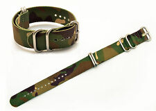 22mm watch band STRAP FITS Luminox watches GREEN camouflage Nylon Woven 4 Rings