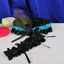 Teal Blue Satin Wedding Bridal Garter Set of 2 Toss & Keepsake w/Peacock Feather