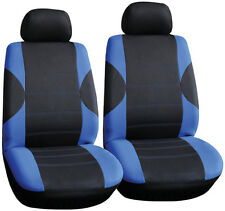 New Premium Black & Blue Fabric Interior Protection Front Car Seat Covers (Pair)