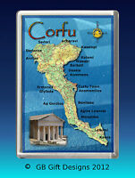 CORFU MAP - GREECE - JUMBO  Fridge Magnet  Holiday Souvenir
