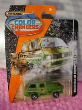 VOLKSWAGEN TRANSPORTER☆green VW bus; empty bed☆2017 MATCHBOX COLOR CHANGERS