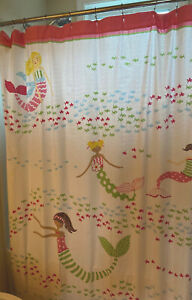 Pottery Barn Kids Mermaids Under The Sea Shower Curtain With Pink PBK Bath Rug