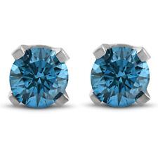 14 Karat White Gold 1/3ct Treated Blue Diamond Studs